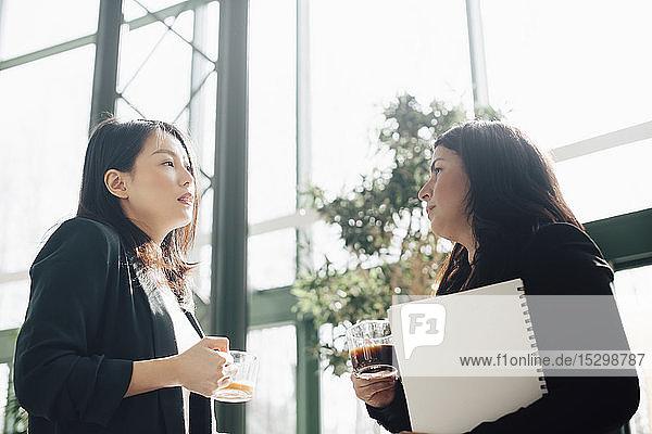 Geschäftsfrauen beim Kaffee trinken  während sie in einem hell erleuchteten Büro diskutieren