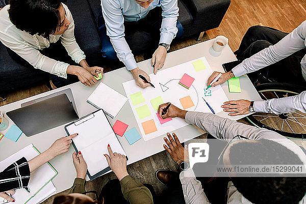 Hochwinkelansicht von Fachleuten  die Verkaufsstrategien während einer Besprechung im Büro planen