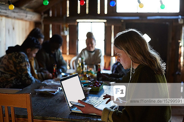 Young woman using laptop on table while friends talking in background at log cabin