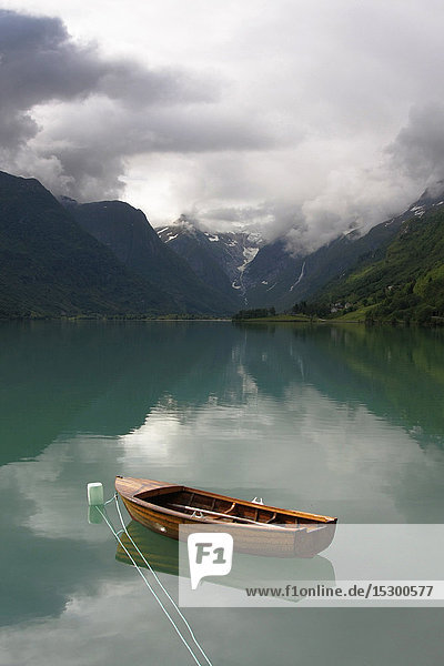 Boat on a lake  Norway  Europe