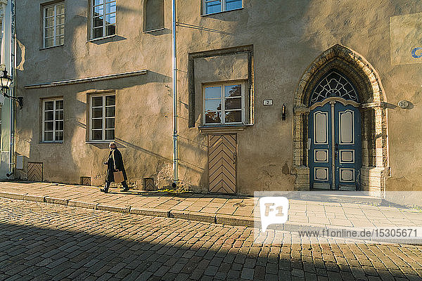 Street in the old town of Tallinn  Estonia