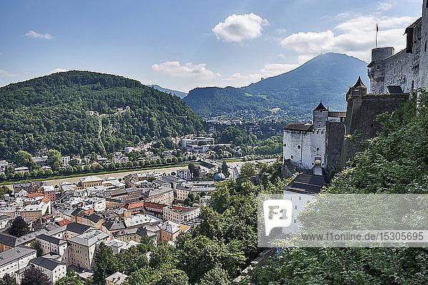 View from Hohensalzburg to the city of Salzburg  Austria