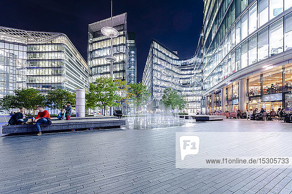 Business buildings near River Thames  London  UK