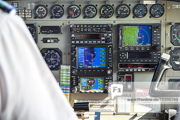 Control panel of a plane flying over Hervey Bay  Queensland  Australia