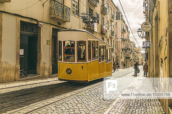 Classic cable tram lift in Lisbon  Portugal