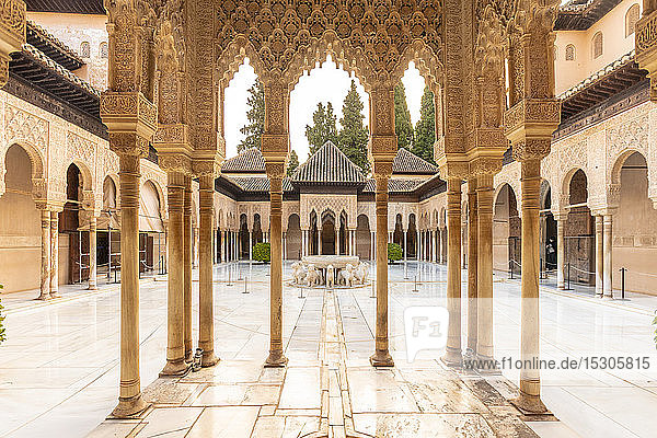 Court of the Lions at the Nasrid palace in Alhambra  Granada  Spain