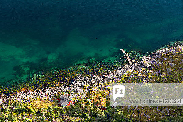 Aerial view over colourful sea & house  Henningsvaer  Austvagoy  Nordland