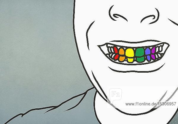 Nahaufnahme eines Mannes mit zahnigem Lächeln und Regenbogenzähnen