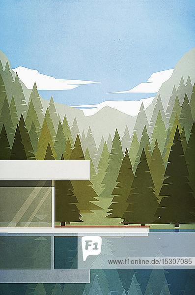Modernes Haus am See mit Sommerwald und Bergen im Hintergrund