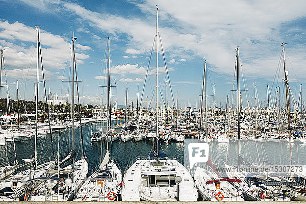 Sailboats moored in sunny Olympic Harbor  Barcelona  Spain