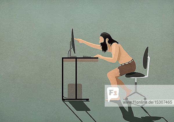 Höhlenmensch berührt Computerbildschirm