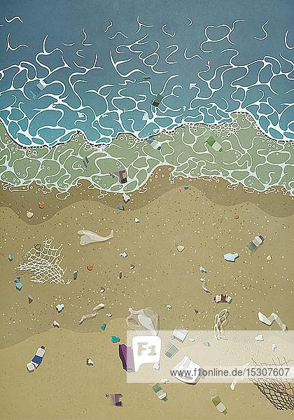 Angeschwemmter Müll am Meeresstrand