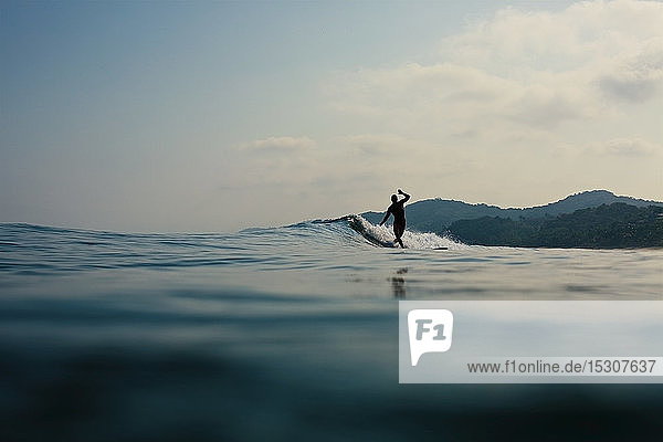 Surfer riding ocean wave  Sayulita  Nayarit  Mexico