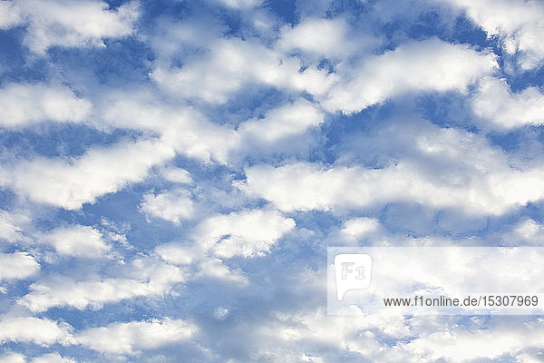 Fluffy white clouds in sunny blue sky
