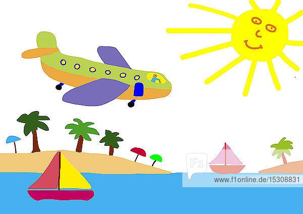 Kinderzeichnung eines Flugzeugs über einem Strand