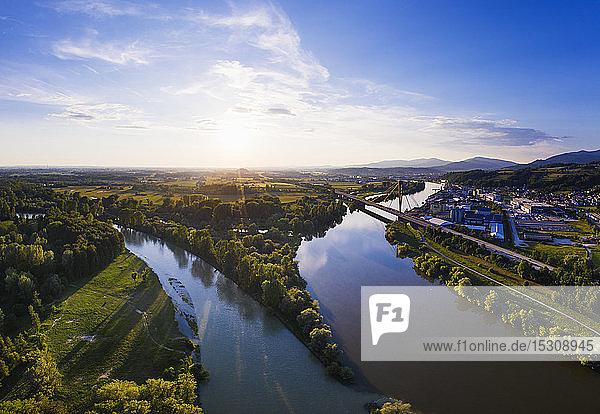 Isar estuary into Danube river near Deggenau  Lower Bavaria  Germany