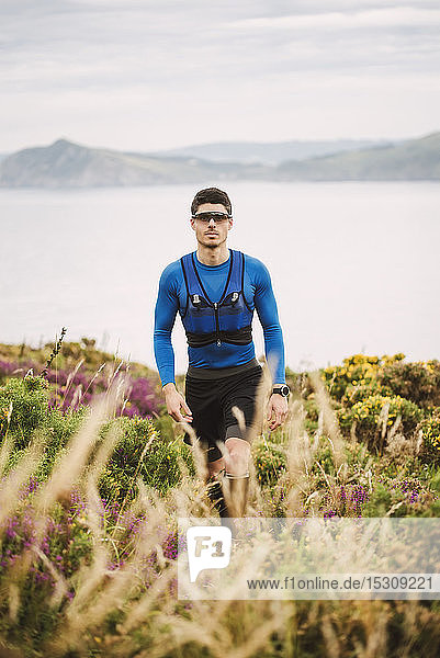 Portrait of trail runner in the mountains  Ferrol  Spain