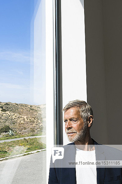 Senior businessman at panorama window looking out