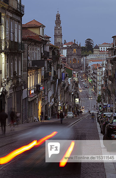 Street scene and Igreja de Sao Pedro de Miragaia in the evening  Porto  Portugal