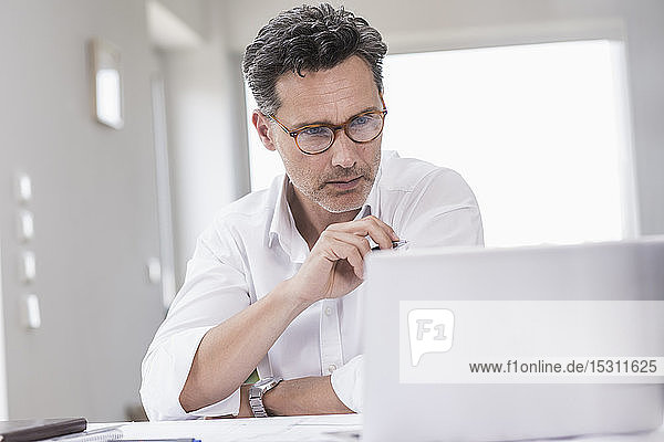 Businessman working in bright office  using laptop