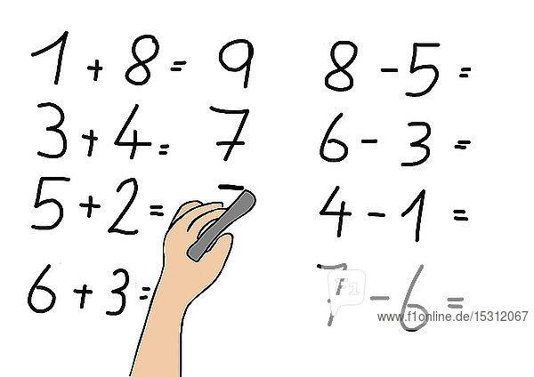 Kinderzeichnung eines rechnenden Schülers