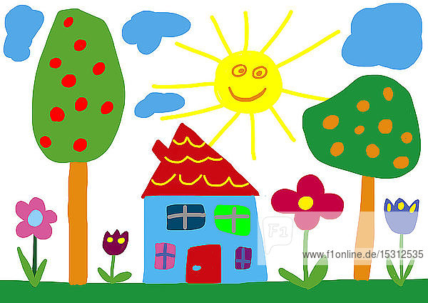 Kinderzeichnung  Sonne  Haus und Garten