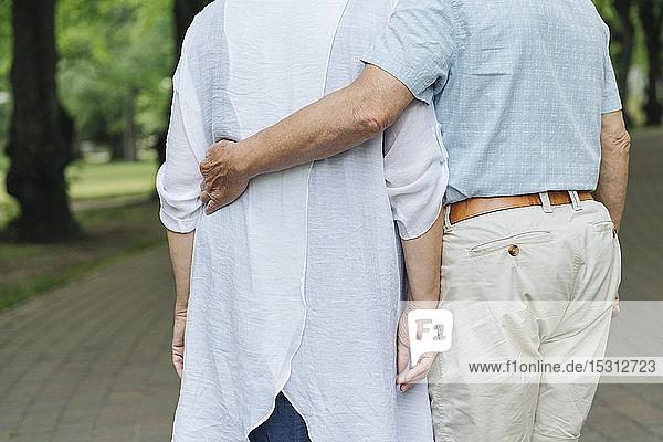 Rückenansicht eines älteren Paares beim Spaziergang in einem Park  Teilansicht