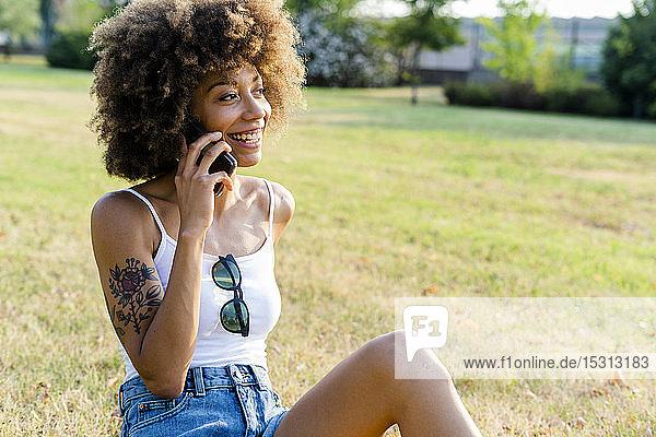 Porträt einer glücklichen jungen Frau am Telefon  die auf einer Wiese sitzt