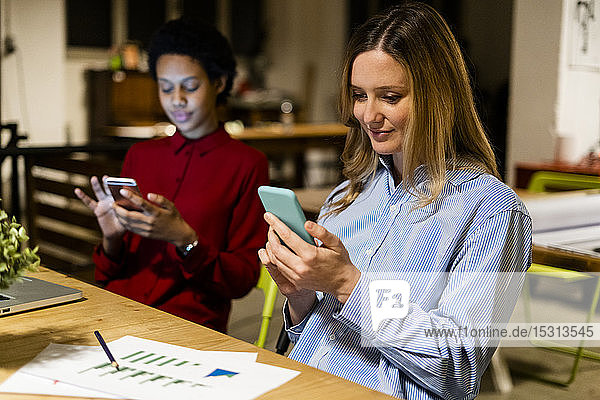 Two businesswomen using cell phones at desk in office