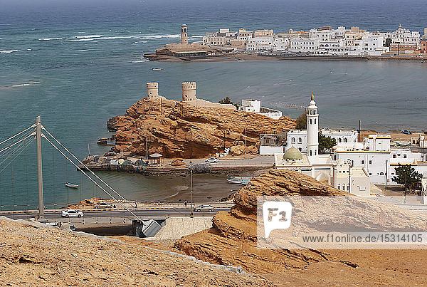 Sur Lighthouse and towers  Coastal town Sur  Oman
