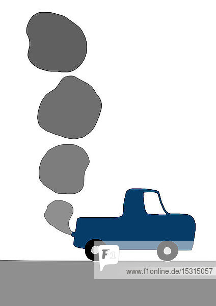 Kinderzeichnung eines Autos mit Abgasemissionen