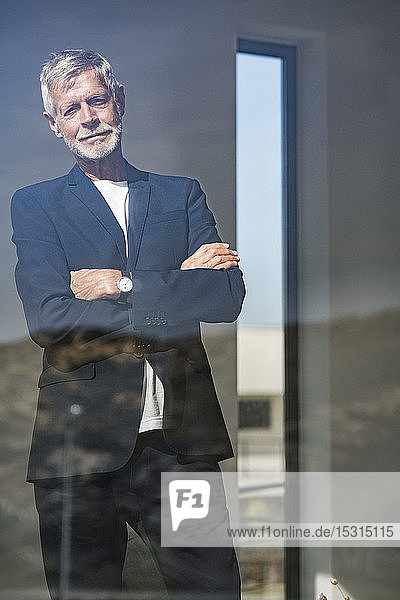 Portrait of senior businessman behind windowpane