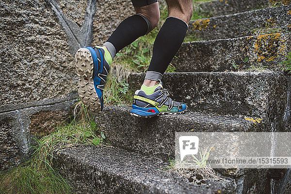 Detail of a runner on stairs outdoors
