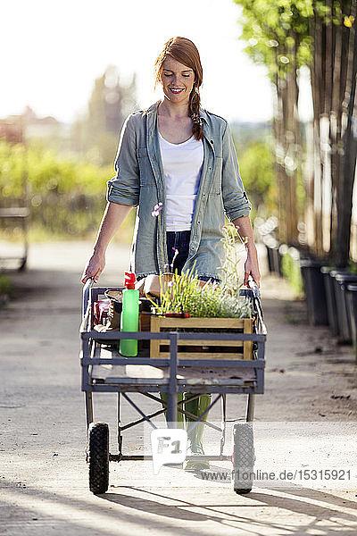 Schöne Frau transportiert Pflanzen mit einer Schubkarre im Gewächshaus
