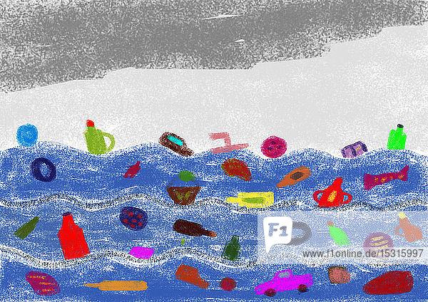 Kinderzeichnung von Abfall im Meer