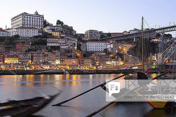 View from Gaia to Porto with Douro river in the evening  Portugal