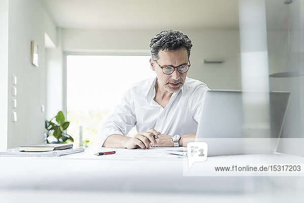 Architect sitting in bright office  using laptop