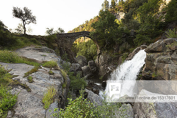 Waterfall by Ponte da Mizarela in Peneda-Geres National Park