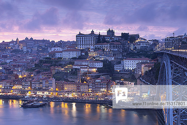 View over Porto and river Douro at dusk  Portugal