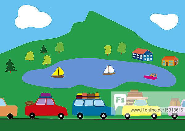 Kinderzeichnung von Autos im Stau auf dem Weg in den Urlaub