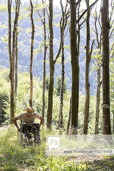 Mann im Rollstuhl im Wald