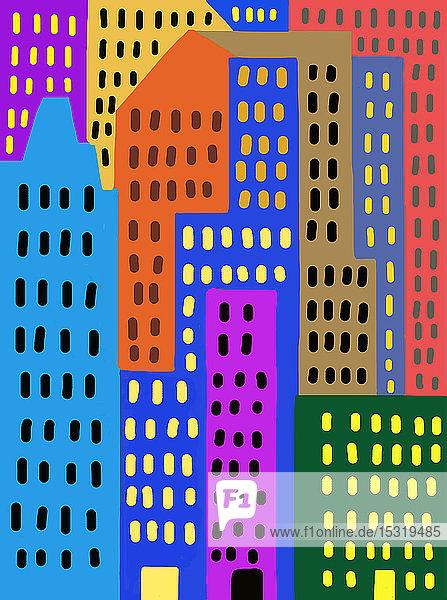 Kinderzeichnung von bunten Wolkenkratzern in der Stadt