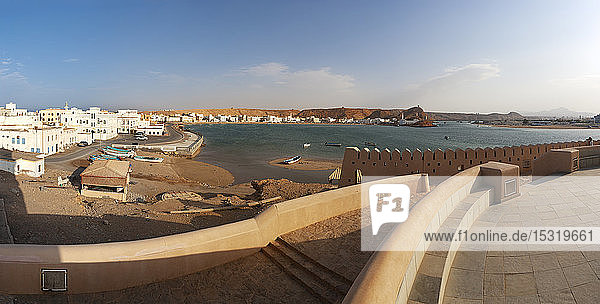 View from Sur Lighthouse to harbour  Sur  Oman