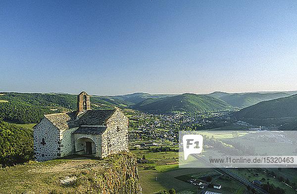 France  Auvergne  Cantal  chapel Sainte-Madeleine on a rocky outcrop over La Vallee de l'Alagnon at Massiac