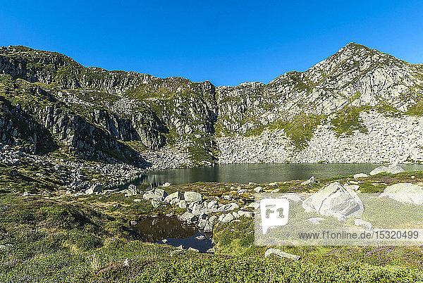 France  Pyrenees Ariegeoises Regional Nature Park  Bassies lakes hiking trail  Alate pond  GR 10
