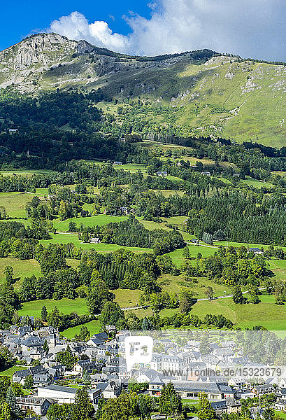 France  Occitanie  Pyrenees National Park  Val d'Azun  overview of Arrens-Marsous