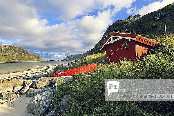 Norway  Lofoten Islands  Flakstadpollen bay  red hut