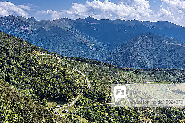 France  Hautes Pyrenees  Col d'Aspin (1489 meters high) view of the Aure valley
