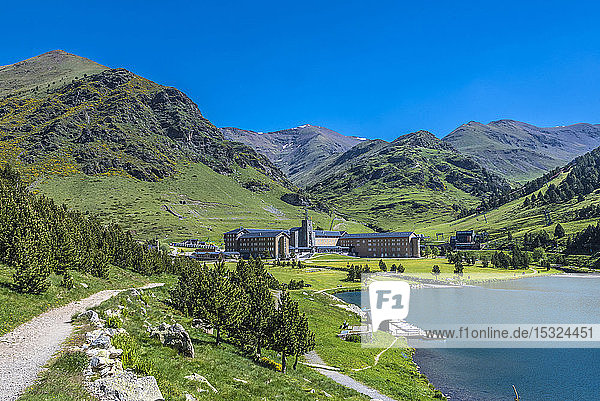 Spain  Catalonia  Pyrenees  comarque of Ripolles  Sanctuary of the Virgen of Nuria  and reservoir