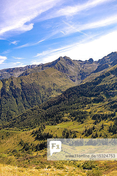 Landscape  view of the slopes and mountains around the ski resort Guzet-snow in summer. Couserans-Pyrenees  Ustou Valley  Ariege  Occitanie  France